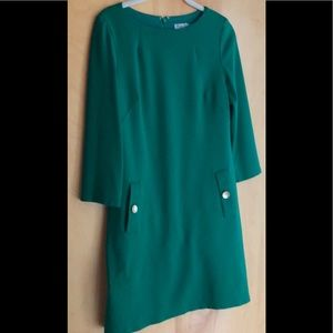 Eliza J. Green dress with gold button detail